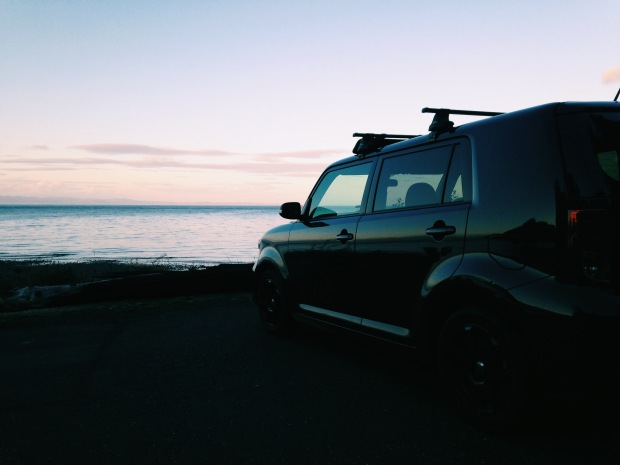 Pillar Point washington Scion xB at sunset