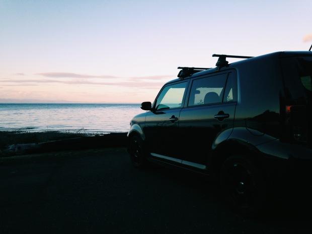 Pillar Point washington Scion xB at sunset