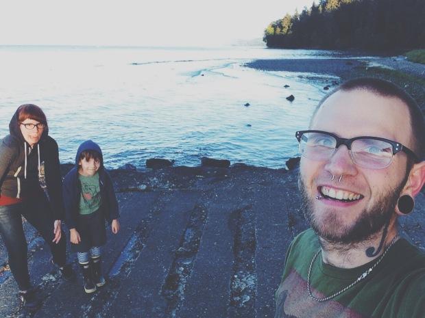 Family selfie on boat ramp pillar point washington