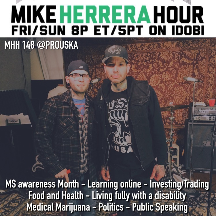 Mike Herrera and Kellen Prouse, a Multiple Sclerosis blogger, pose for a podcast photo.